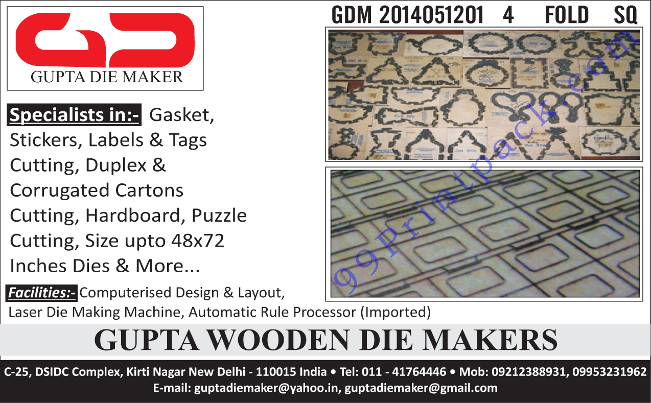 Gasket Wooden Dies, Sticker Wooden Dies, Label Wooden Dies, Tags Wooden Dies, Duplex Carton Wooden Dies, Corrugated Carton Wooden Dies, Puzzle Wooden Dies, Hardboard Wooden Dies,Dies, Duplex Cartons, Corrugated Cartons, Gasket, Labels, Stickers, Labels Cutting, Tags Cutting, Cartons, Puzzle Cutting, Computerised Design Facility, Computerised Layout Facility, Laser Die Making Machine Facility, Automatic Rule Processor Facility