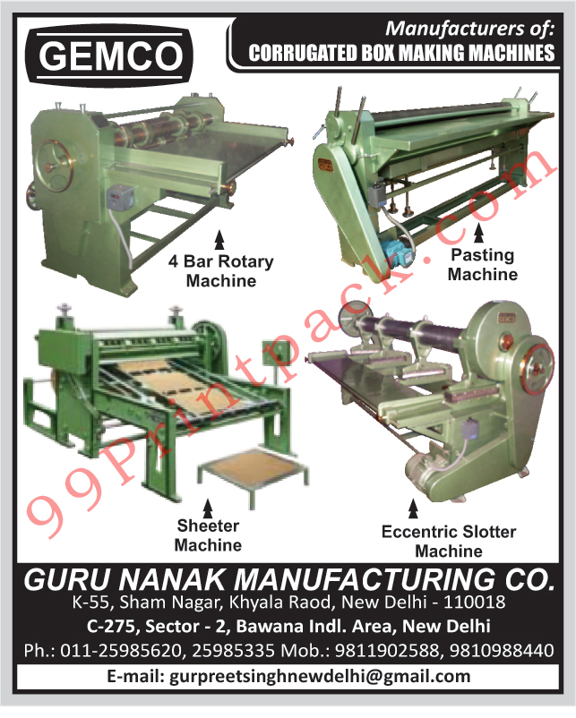 Corrugated Box Making Machines, Four Bar Rotary Machines, Pasting Machines, Sheeter Machines, Eccentric Slotter Machines,Board Cutter, Bar Rotary Machine