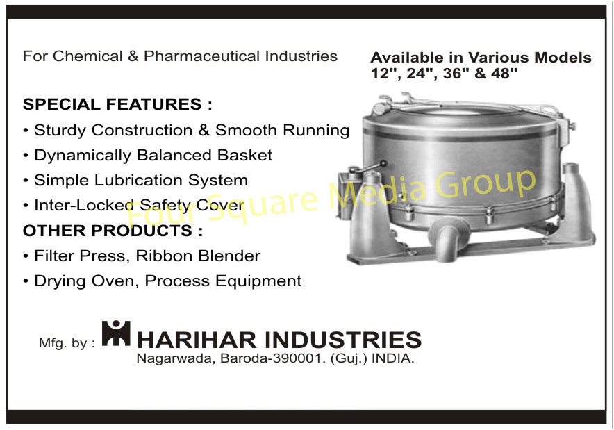 Chemical Centrifuges, Pharmaceutical Centrifuges, Filter Presses, Ribbon Blenders, Drying Ovens, Process Equipments,Centrifuge, Forced Draught Dryer, Planetary Mixer, Laundry Machines, Reaction Vessels