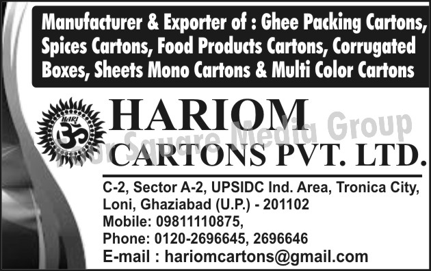 Ghee Packing Cartons, Spices Cartons, Food Product Cartons, Corrugated Boxes, Sheet Mono Cartons, Multi Colour Cartons, Masala Cartons