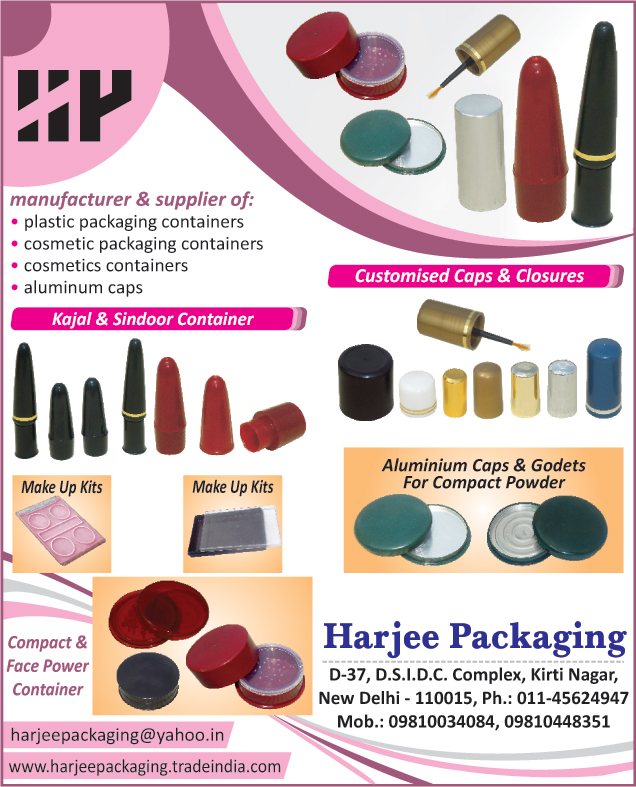 Plastic Packaging Containers, Cosmetic Packaging Containers, Aluminum Caps, Customized Caps, customized Closures, Make Up Kits, Compact Aluminum Godets, Kajal Containers, Sindoor Containers, Face Powder Containers, Cosmetics Containers, Plastic Container Job Work