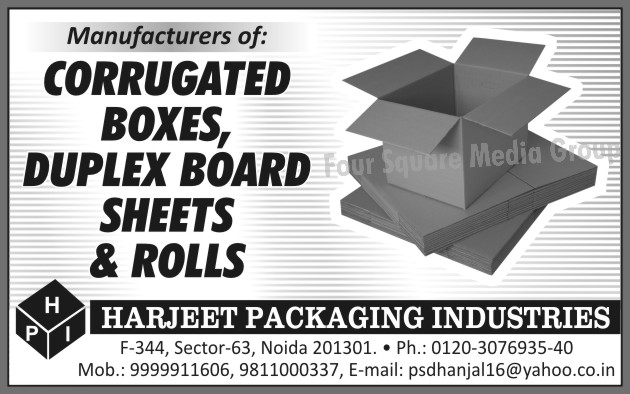 Corrugated Boxes, Duplex Board Sheets, Duplex Board Rolls