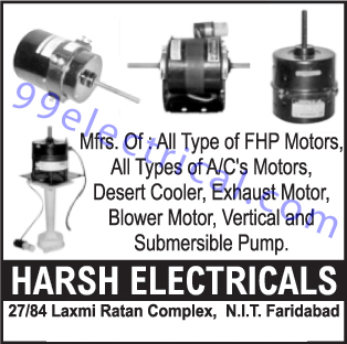 FHP Motors, AC Motors, Desert Coolers, Exhaust Motors, Blower Motors, Vertical Pumps, Submersible Pumps,Electrical Products, Electrical Parts, Motors, Electrical Motors, Sesert Cooler