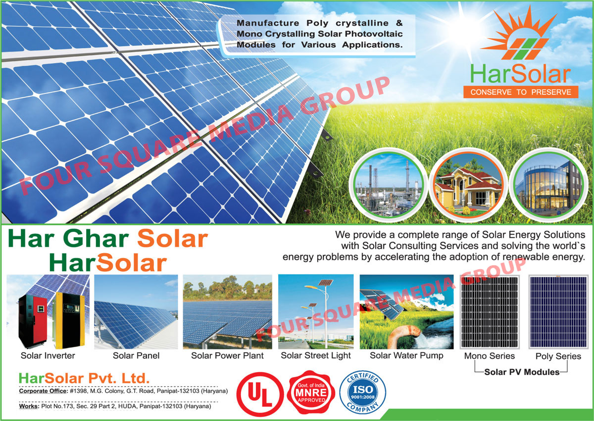 Polycrystalline Solar Photovoltaic Modules, Mono Crystalline Solar Photovoltaic Modules, Solar Inverters, Solar Panels, Solar Power Plant, Solar PV Modules, Solar Street Lights, Solar Water Pumps, Solar Batteries