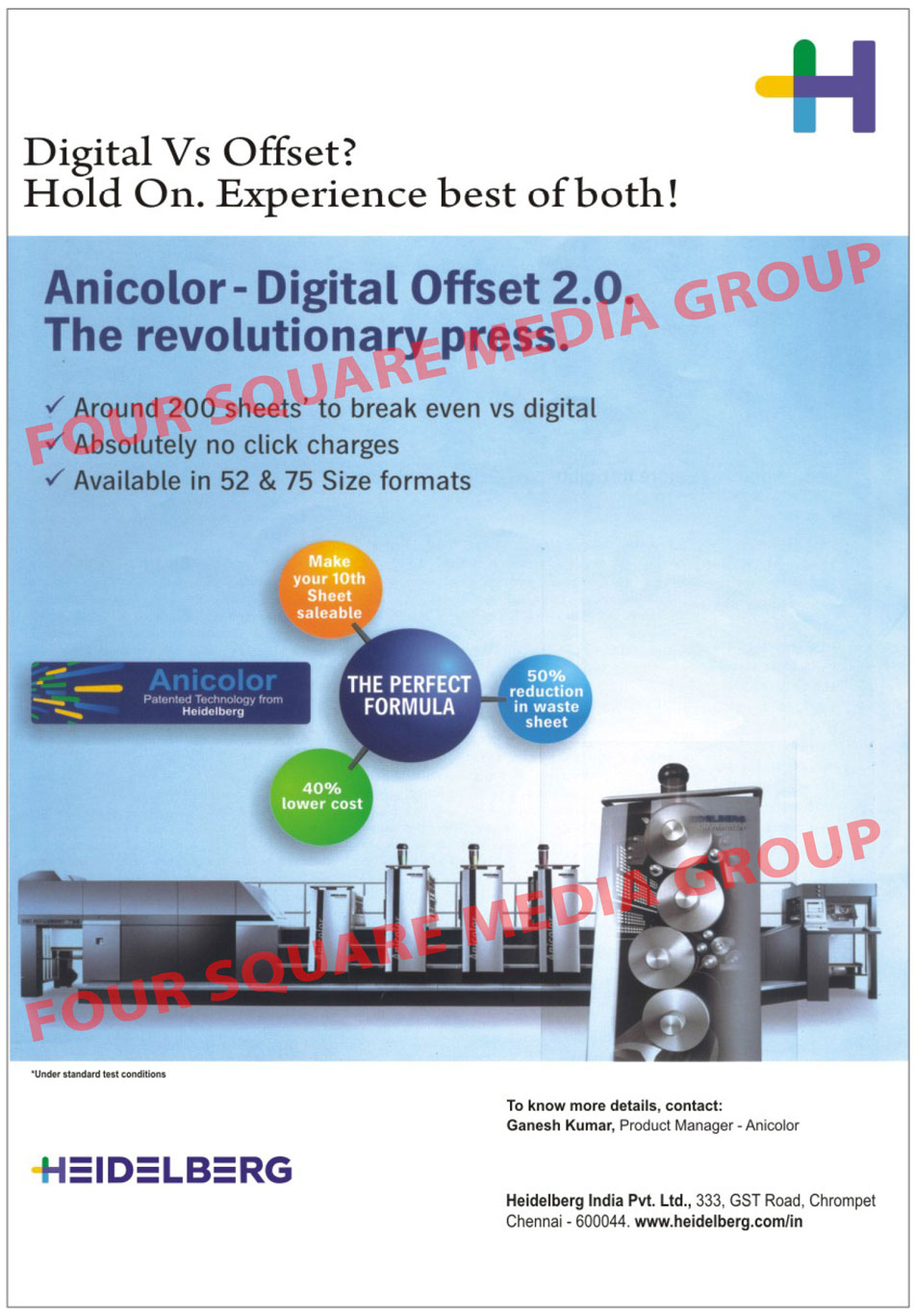 Digital System, Flexible Setup, Offset System, Anicolor Inking Unit