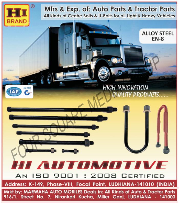 Automotive Spare Parts | Tractor Parts | U Bolts | Centre Bolts ...