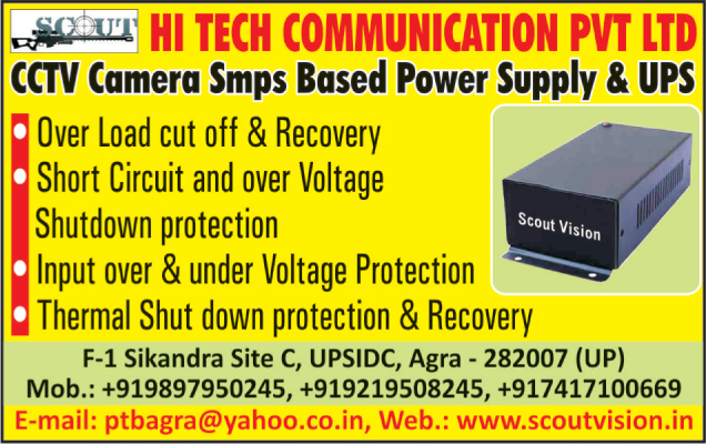 SMPS Based Power Supply, UPS,CCTV Camera