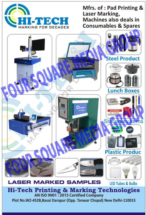 Pad Printing Machines, Laser Marking Machines, Pad Printing Machine Spare Parts, Laser Marking Machine Spare Parts, Pad Printing Inks, Solvents, Reducers, Hardeners, Cliche Plates, Pad Printing Pads, CO2 Laser Cutting Machine, Fiber Laser Cutting Machines