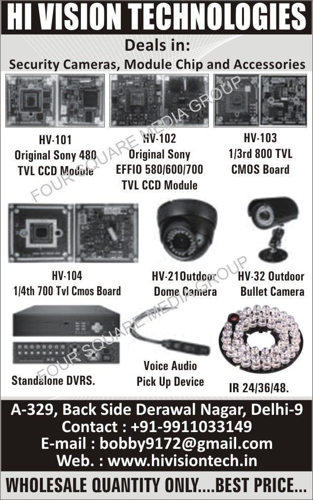 TVL CCD Modules, CCD Boards, AHD Boards, CVI Boards, TVL CMOS Boards, Dome Cameras, Bullet Cameras, Standalone DVR, Standalone Digital Video Recorders, Voice Audio Pick Up Devices, IR 24, IR 36, IR 48