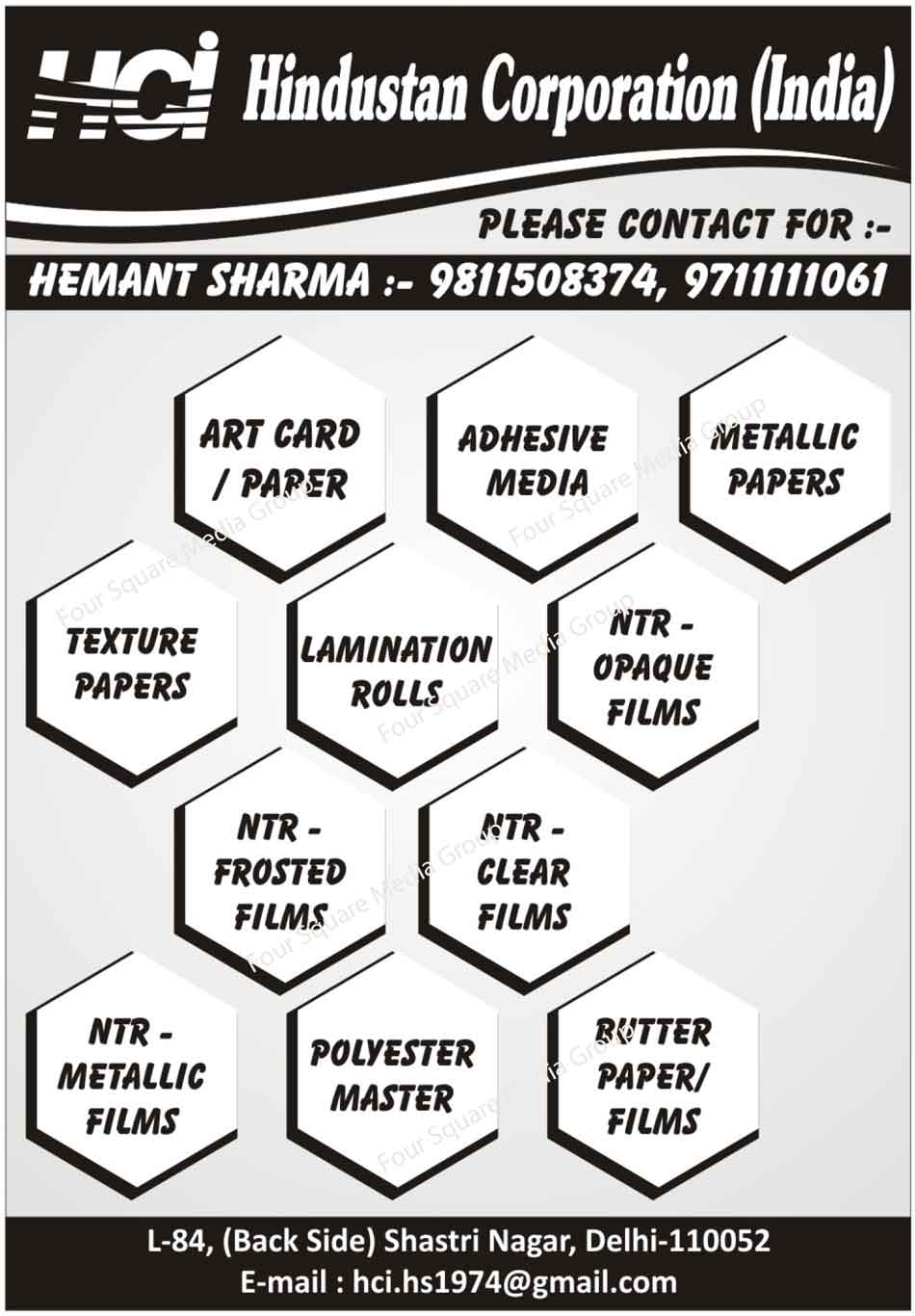 Art Card, Art Paper, Butter Paper, Butter Film, Polyester Master, NTR Metallic Film, NTR Clear Film, NTR Frosted Film, NTE Opaque Film, Lamination Roll, Texture Paper, Metallic Paper, Adhesive Media