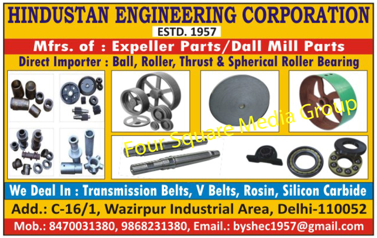 Expeller Part, Dall Mill Part, Ball Bearing, Roller Bearing, Thrust Bearing, Spherical Roller Bearing