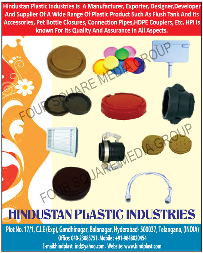 Plastic Products, Plastic Flush Tanks, Flush Tank Accessories, Pet Bottle Closures, Connection Pipes, HDPE Couplers