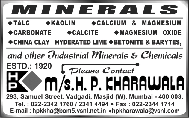 Industrial Minerals, Industrial Chemicals, Talc Minerals, Kaolin Minerals, Calcium Minerals, Magnesium Minerals, Carbonate Minerals, Calcite Minerals, Magnesium Oxide Minerals, China Clay Hyderated Lime Minerals, Betonite Minerals, Barytes Minerals,