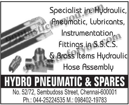 Hydraulic Pneumatic, Lubricants, Instrumentation, SSCS Fittings, Brass Items, Hydraulic Hose Assembly,Hydraulic, Pneumatic