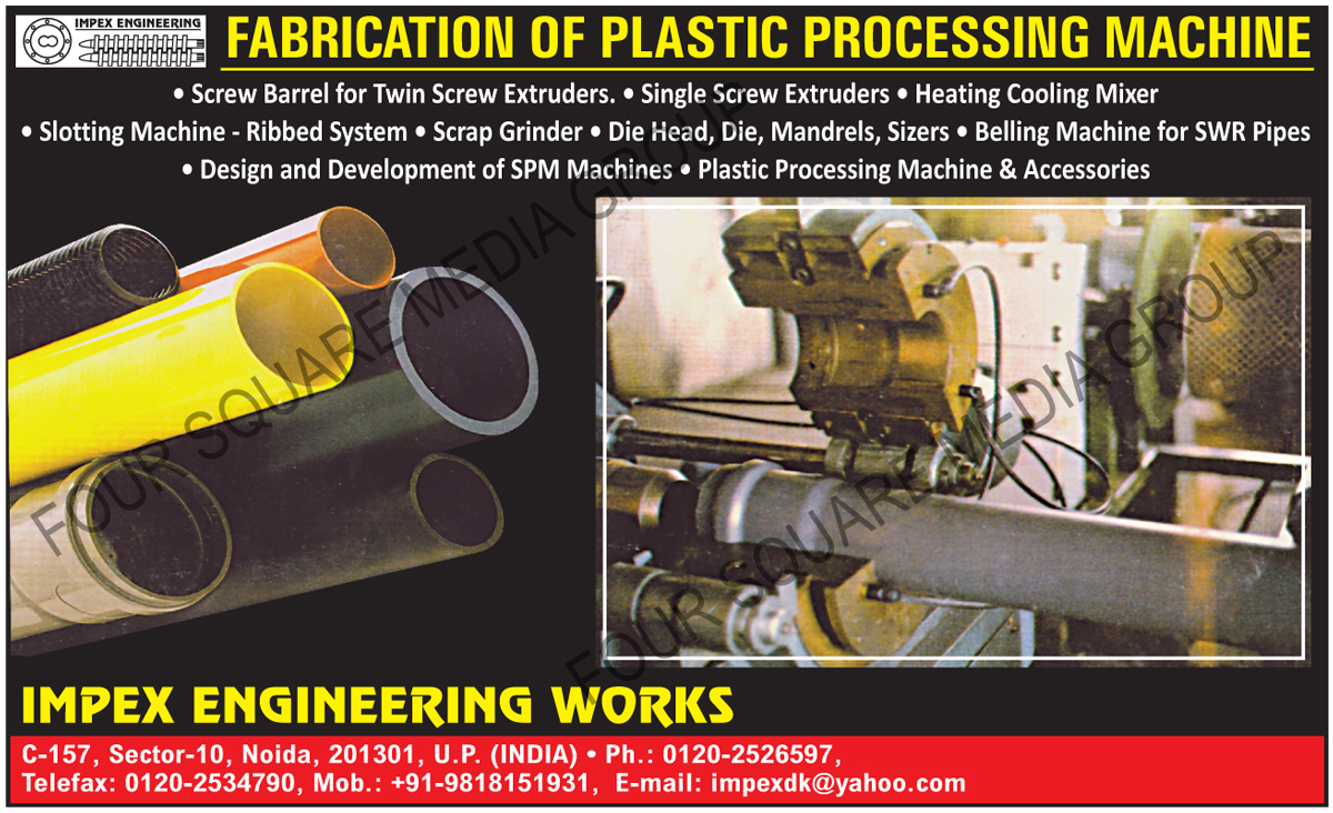 Screw Barrel For Twin Screw Extruders, Single Screw Extruders, Heating Cooling Mixers, Slotting Machines Ribbed Systems, Scrap Grinders, Die Heads, Plastic Dies, Mandrels, Sizers, Belling Machines For SWR Pipes, Special Purpose Machine Designing Services, Special Purpose Machine Development Services, Plastic Processing Machines, Plastic Processing Machine Accessories