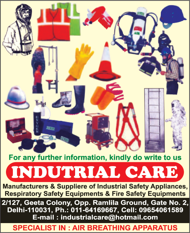 Industrial Safety Appliances, Air Breathing  Apparatus, Fire Suits, Rope Ladders, Safety nets, Boiler Suits, Wind Socks, Respiratory Safety Equipments, Fire Safety Equipments, Spark Arrestors, Chemical Suit, PVC Suit, Life Jackets, Safety Products, Safety Barricading Tapes, Fire Blankets, Nose Masks, Safety Goggles, Face Shields, Dust Masks, First Aid Equipment, Safety Shoes, Gumboots, Safety Helmets, Traffic Cones