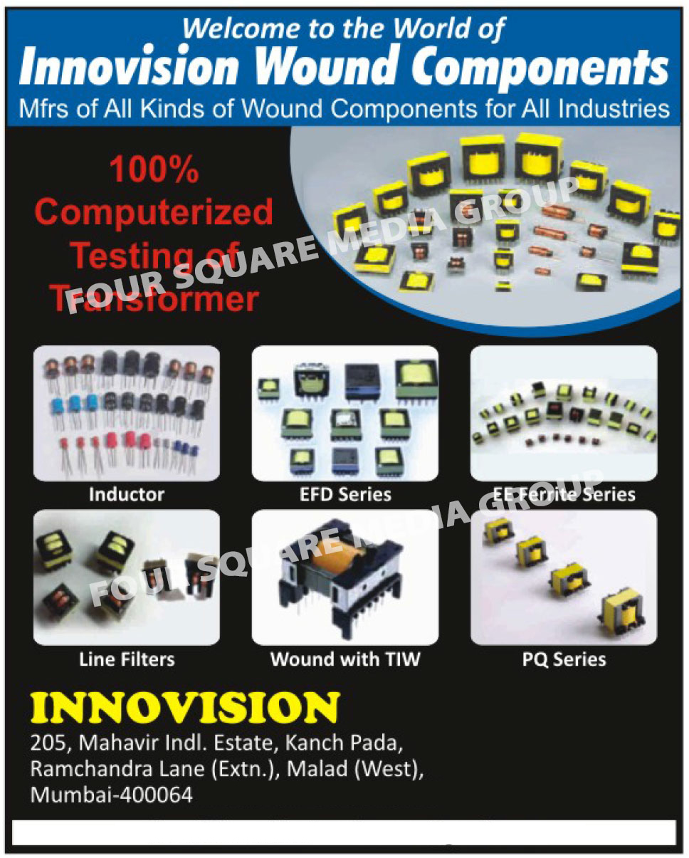 Wound Components, Inductors, EFD Series Transformers, EE Ferrite Series Transformers, Line Filters, PQ Series Transformers