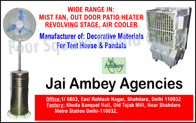Mist Fans, Outdoor Patio Heaters Revolving Stages, Air Coolers, Tent House Decorative Materials, Pandals Decorative Materials