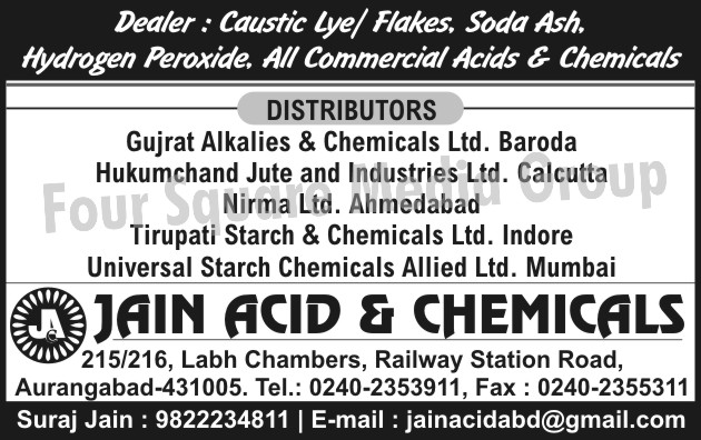 Caustic Lyes, Caustic Flakes, Soda Ash, Hydrogen Peroxide, Commercial Acids, Commercial Chemicals