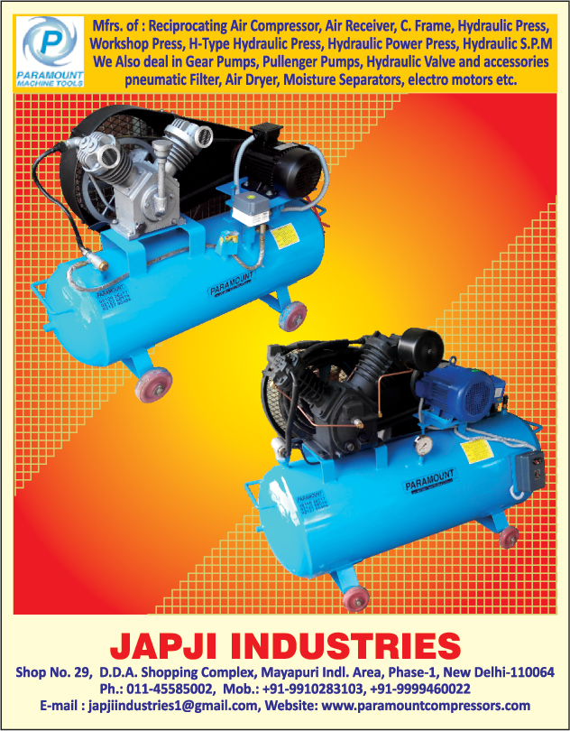 Reciprocating Air Compressors, Air Receivers, C Frame, Hydraulic Presses, Workshop Presses, H Type Hydraulic Presses, Hydraulic Power Presses, Hydraulic SPM, Hydraulic Special Purpose Machines, Gear Pumps, Hydraulic Valves, Hydraulic Accessories, Pneumatic Filters, Air Dryers, Moisture Separators, Electro Motors,Air Compressors