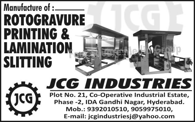 Rotogravure Printing Machines, Lamination Machines, Slitting Machines
