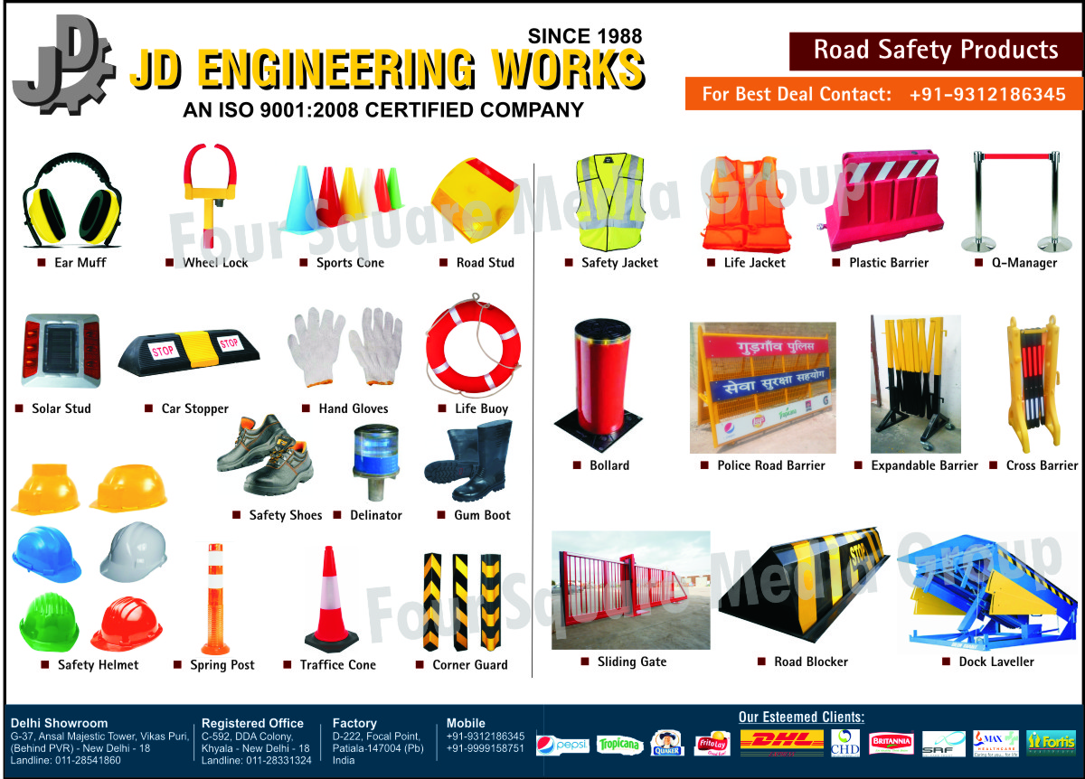 Trolleys, Barriers, Signage, Road Safety Products, Ear Muff, Wheel Locks, Sport Cone, Road Studs, Solar Studs, Car Stopper, Hand Gloves, Life Buoy, Safety Shoes, Delinator, Gum Boots, Safety Helmets, Spring Post, Traffic Cone, Corner Guard, Safety Jackets, Life Jackets, Plastic Barrier, Q Manager, Bollard, Police Road Barrier, Expandable Barrier, Cross Barrier, Sliding Gate, Road Blocker, Dock Leveller, Safety Products