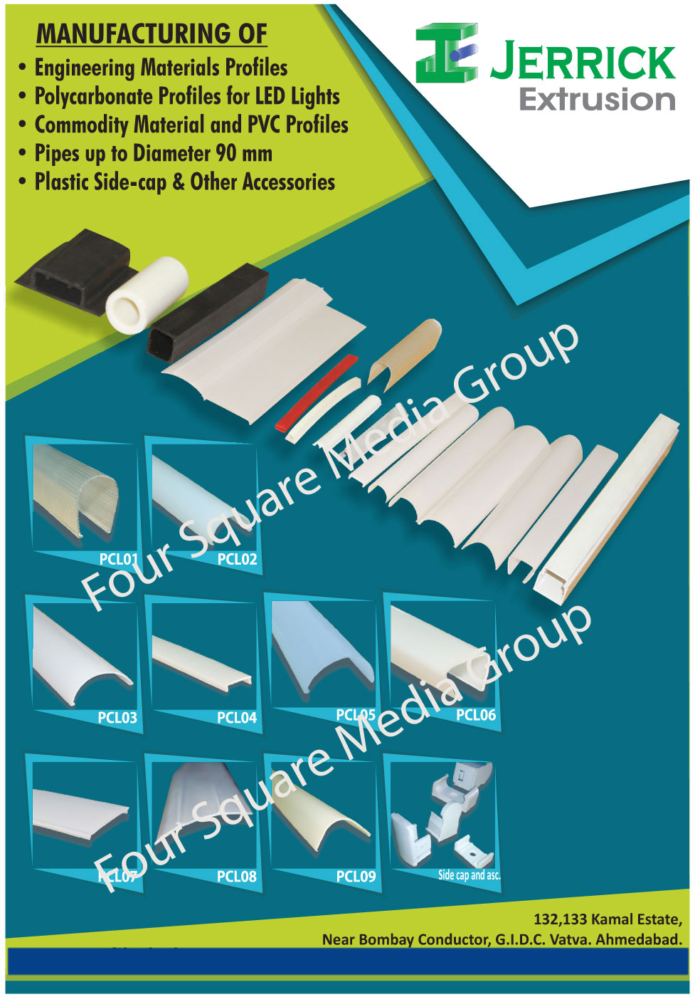 Engineering Material Profiles, Led Light Polycarbonate Profile, Commodity Materials, PVC Profiles, Plastic Pipes, Plastic Side Caps, Tube Light Housing Accessories