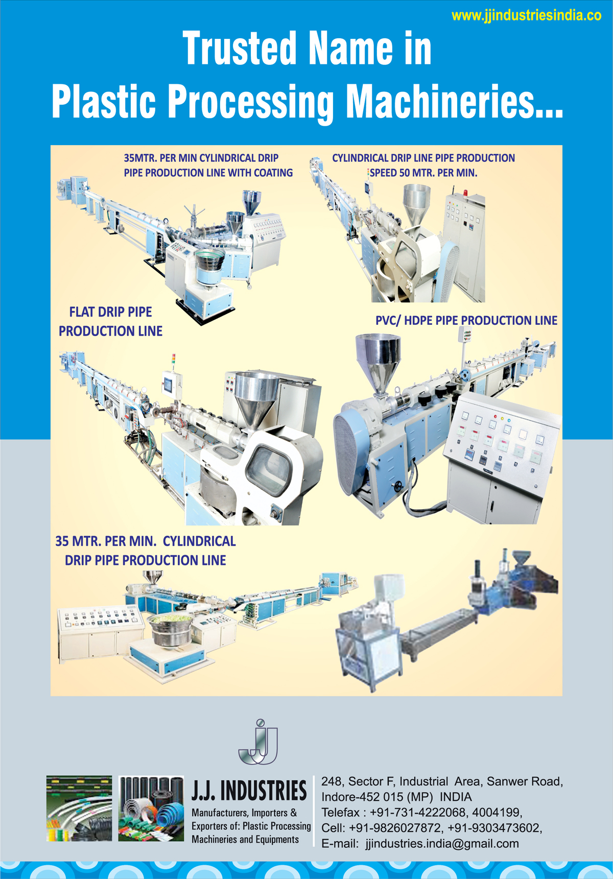 Plastic Processing Machines, Pipe Production Line With Coatings, HDPE Pipe Production Lines, PVC Pipe Production Lines, Cylindrical Drip Pipe Production Lines, Flat Drip Pipe Production Lines, Cylindrical Drip Line Pipe Productions