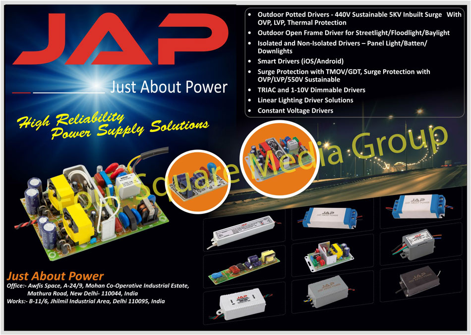 Led Drivers, AC DC Constant Current Led Drivers, Indoor Application Led Drivers, Outdoor Application Led Drivers, Dimmable Led Drivers, Surge Protection Devices, Street Light RTC Based Dusk to Dawn, Street Light Real Time Clock Based Dusk to Dawn, Voltage Cut Off Protection, Solar Charge Controller Solution
