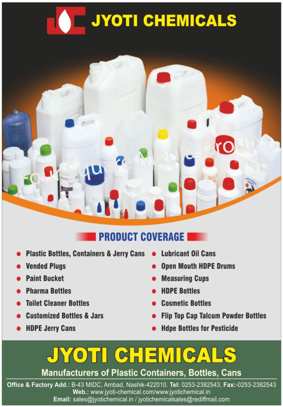 Plastic Bottles, Plastic Containers, Jerry Cans, Vended Plugs, Paint Buckets, Pharma Bottles, Toilet Cleaner Bottles, Customized Bottles, Customized Jars, HDPE Jerry Cans, Lubricant Oil Cans, Open Mouth HDPE Drums, Measuring Cups, HDPE Bottles, Cosmetic Bottles, Flip Top Cap Talcum Powder Bottles, HDPE Bottles for Pesticide
