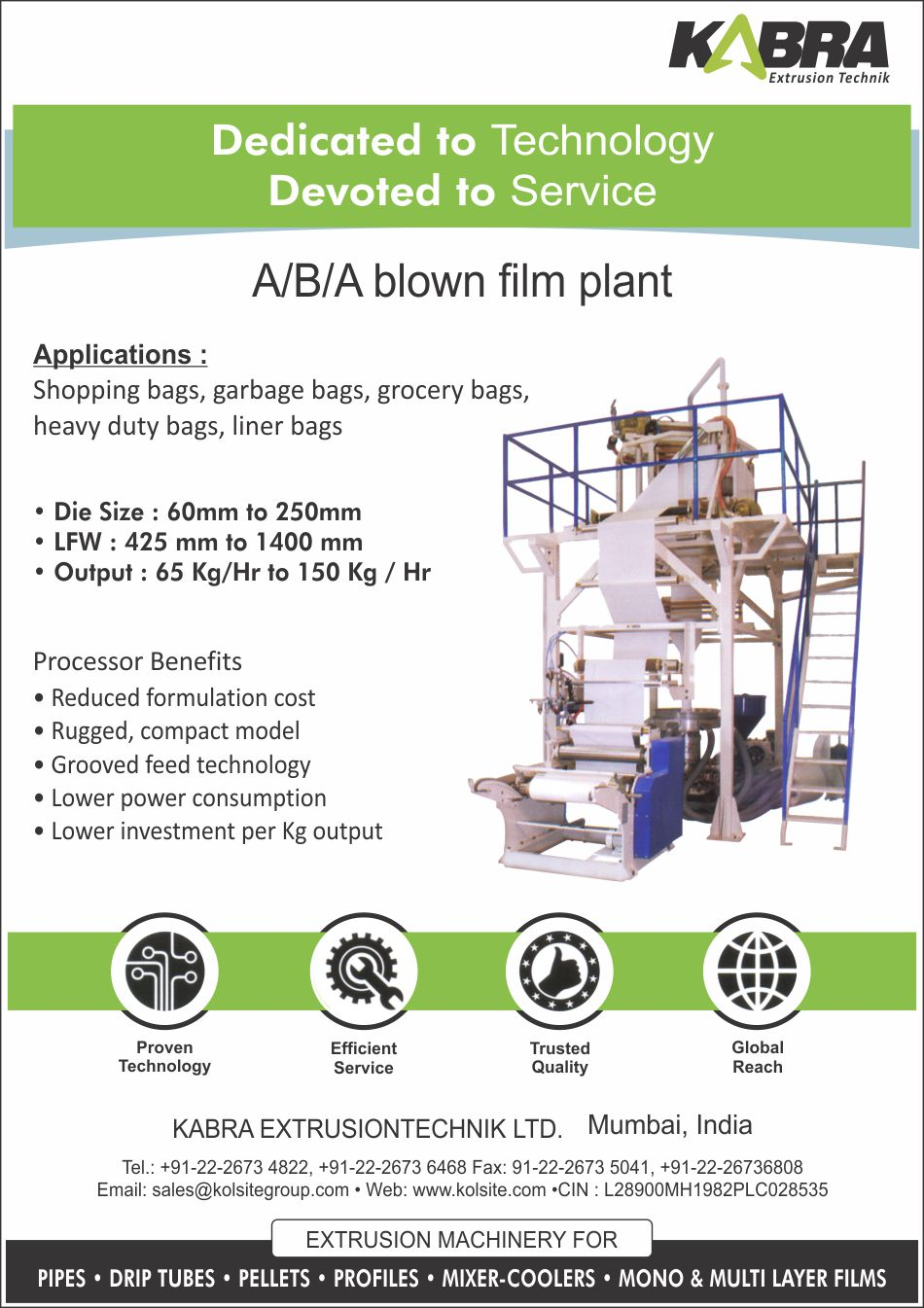 ABA Blown Film Plant, A-B-A Blown Film Plant
