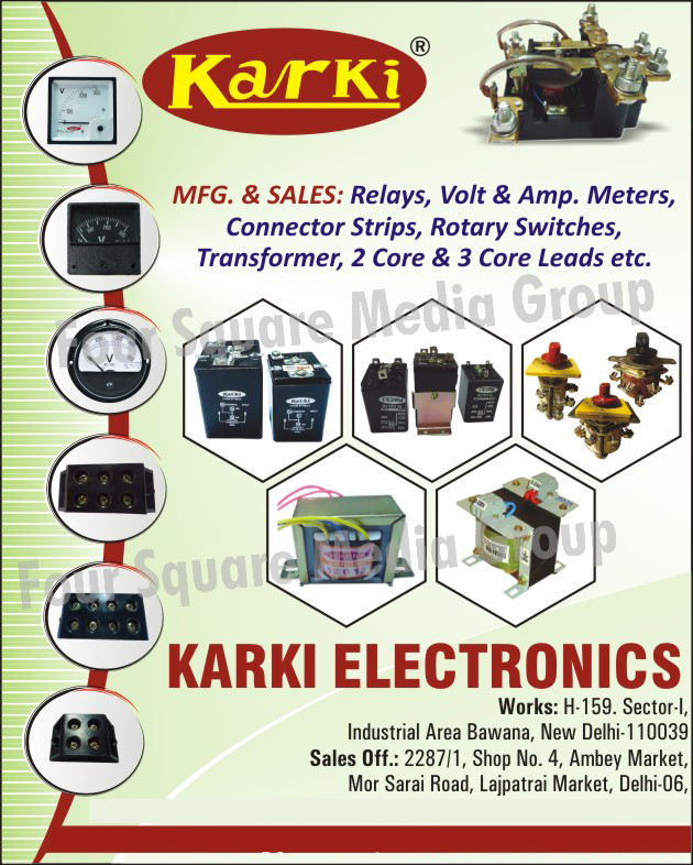Electronic Equipments, Relays, Volt Meters, Ampere Meters, Connector Strips, Rotary Switches, Transformers, Two Core Leads, 2 Core Leads, Three Core Leads, 3 Core Leads, AMP Meters, Digital Panel Meters, Connectors,