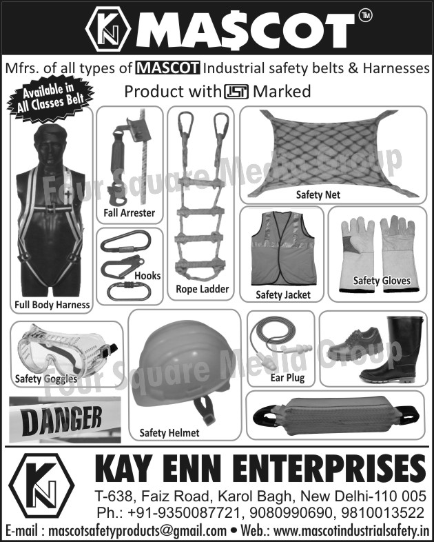 Safety Jacket, Ear Plug, Safety Gloves, Safety Net, Fall Arrester, Hooks, Full Body Harness, Safety Goggles, Safety Helmets, Rope Ladder, Safety Shoes, Industrial Safety Belts, Safety Boots, Safety Products