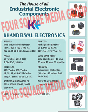 Industrial Electronic Components, Axial Fans, Cooling Fans, Exhaust Fans, Metal Blade Fans, Energy Saving Fans, Electronics Components, OEN Relays, PULES Transformers, Mosfets, Drivers, BOURNS Trimpots, BOURNS Helipots, SMF Battery, Potentiometers, IGBT, Triacs, Crystals, Relays, Transformer, SMF Batteries