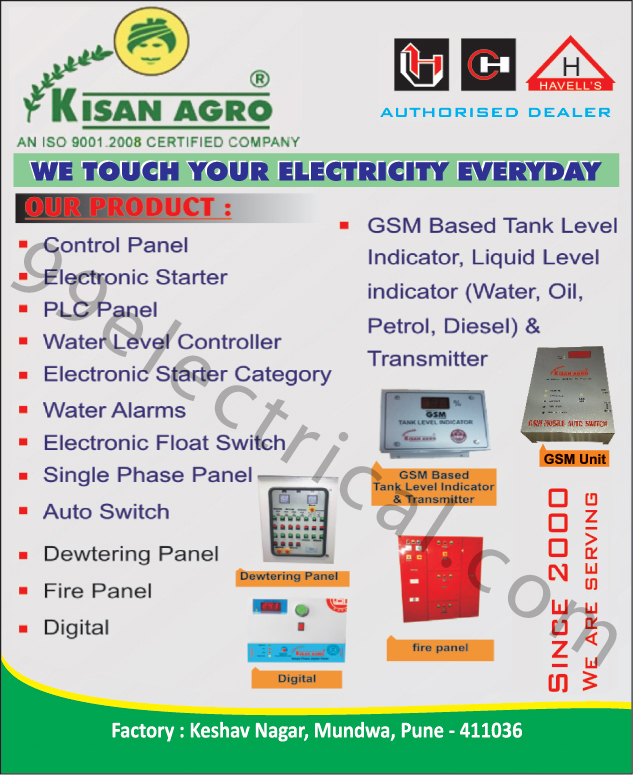 Panels, Water Label Controllers, Electronic Starter Category, Water Alarms, Single Phase Panels, Automotive Switches, Electronic Float Switches, Fire Panels, Dewatering Panels, GSM Based Tank Level Indicators, Liquid Level Indicators, Transmitters ,Electrical Panels, Electrical Products, Control Panel, Fire Panel, Water Level Controller