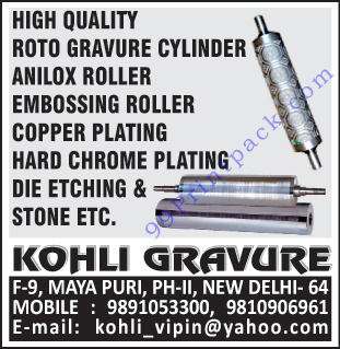 Rotogravure Cylinders, Anilox Rollers, Embossing Rollers, Copper Platings, Hard Chrome Platings, Die Etchings, Die Etching Stones,Koto Gravure Cylinder, Roto Gravure Cylinder, Die Stone