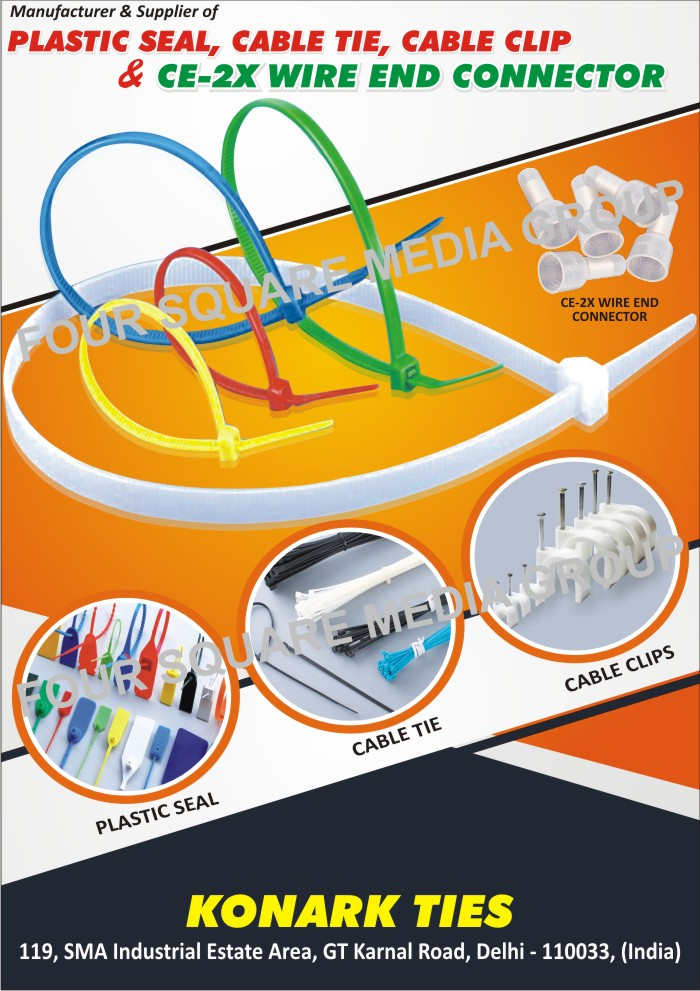Cable Ties, Plastic Seals, Cable mounts, CE-2x Wire End Connectors
