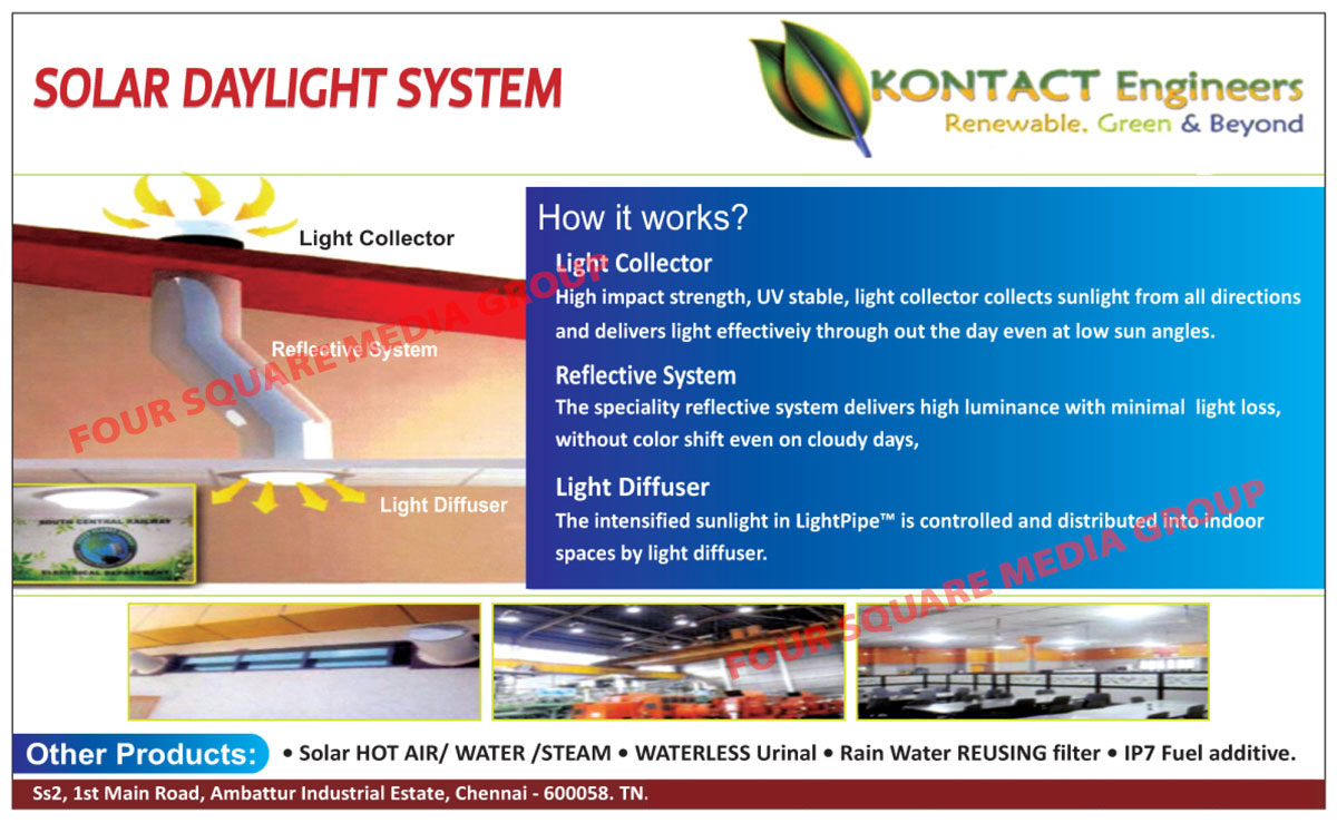 Solar Daylight Systems, Solar Hot Air Systems, Solar Water Steams, Waterless Urinals, Rain Water Reusing Filters, Fuel Additives,Solar Products, Urinal, Filter