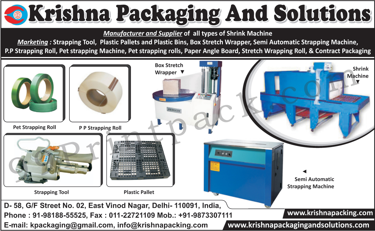 Pet Strapping Rolls, PP Strapping Rolls, Box Stretch Wrappers, Shrink Machines, Plastic Pallets, Strapping Tools, Strapping Machines, Plastic Bins, Paper Angle Boards, Contract Packagings, Pet Strapping Machines, Stretch Wrapping Rolls, Semi Automatic Strapping Machines,Packaging Solution, Stretch Wrapping Machines, Box Wrapper