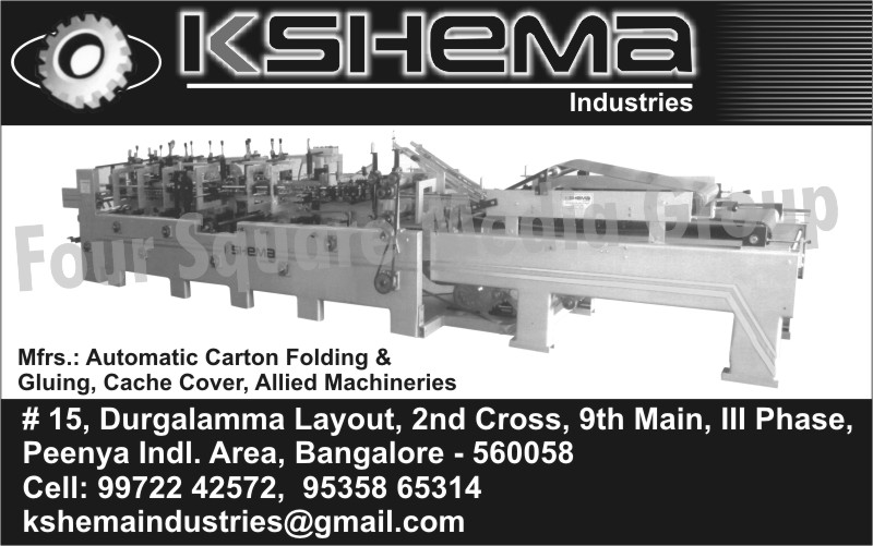 Automatic Carbon Folding Machines, Carton Gluing Machines, Cache Cover Machines, Allied Machines