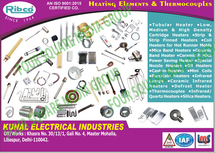 Heating Elements, Cartridge Heaters, Strip Heaters, Strip Finned Heaters, Hot Runner Mould Coil Heaters, Mica Band Heaters, Ceramic Band Heaters, Ceramic Power Saving Heaters, Mica Power saving Heaters, Nozzle Heaters, Oil Heaters, Cast In Heaters, Mini Coils, Porcelain Heaters, Infra Red Lamps, Infrared Lamps, Ceramic infrared Heaters, Defrost Heaters, Thermocouples, Quartz Heaters, Silica Heaters,Heater, Finned Heaters, Coil Heaters, Power Saving Heaters