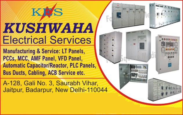 LT Panels, PCC Panels, MCC Panels, AMF Panels, VFD Panels, Automatic Capacitors, Automatic Reactors, PLC Panels, Bus Ducts, Cablings, ACB Services,