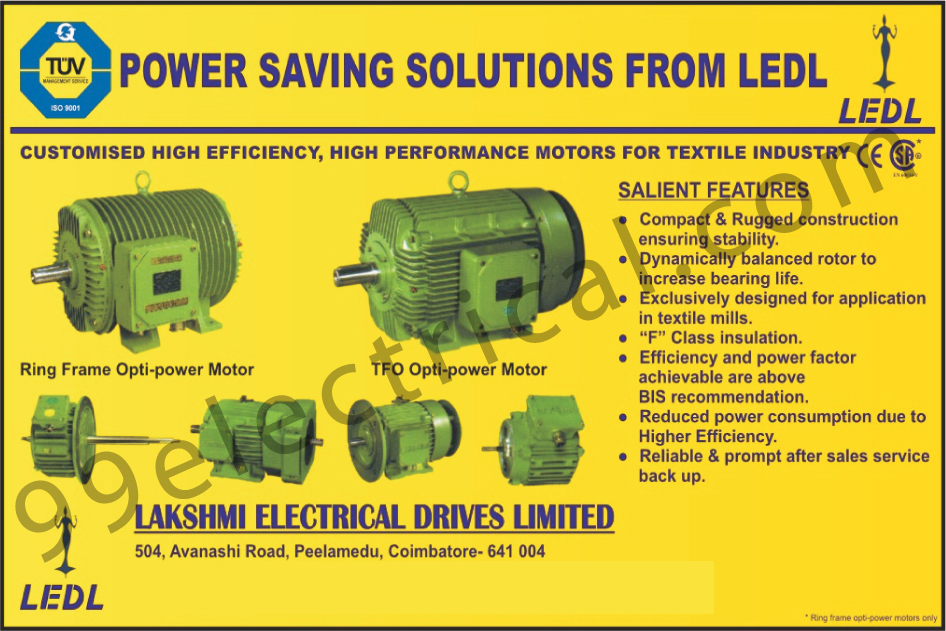 Power Saving Solutions, Motors, Electric Motors, Energy Efficient Motors, High Performance Motors, Textile Industry Motors, Power Motors, Ring Frame Opti Power Motor, TFO Opti Power Motor,