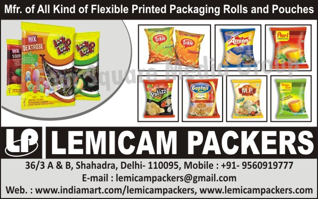 Flexible Printed Packaging Rolls, Flexible Printed Packaging Pouches