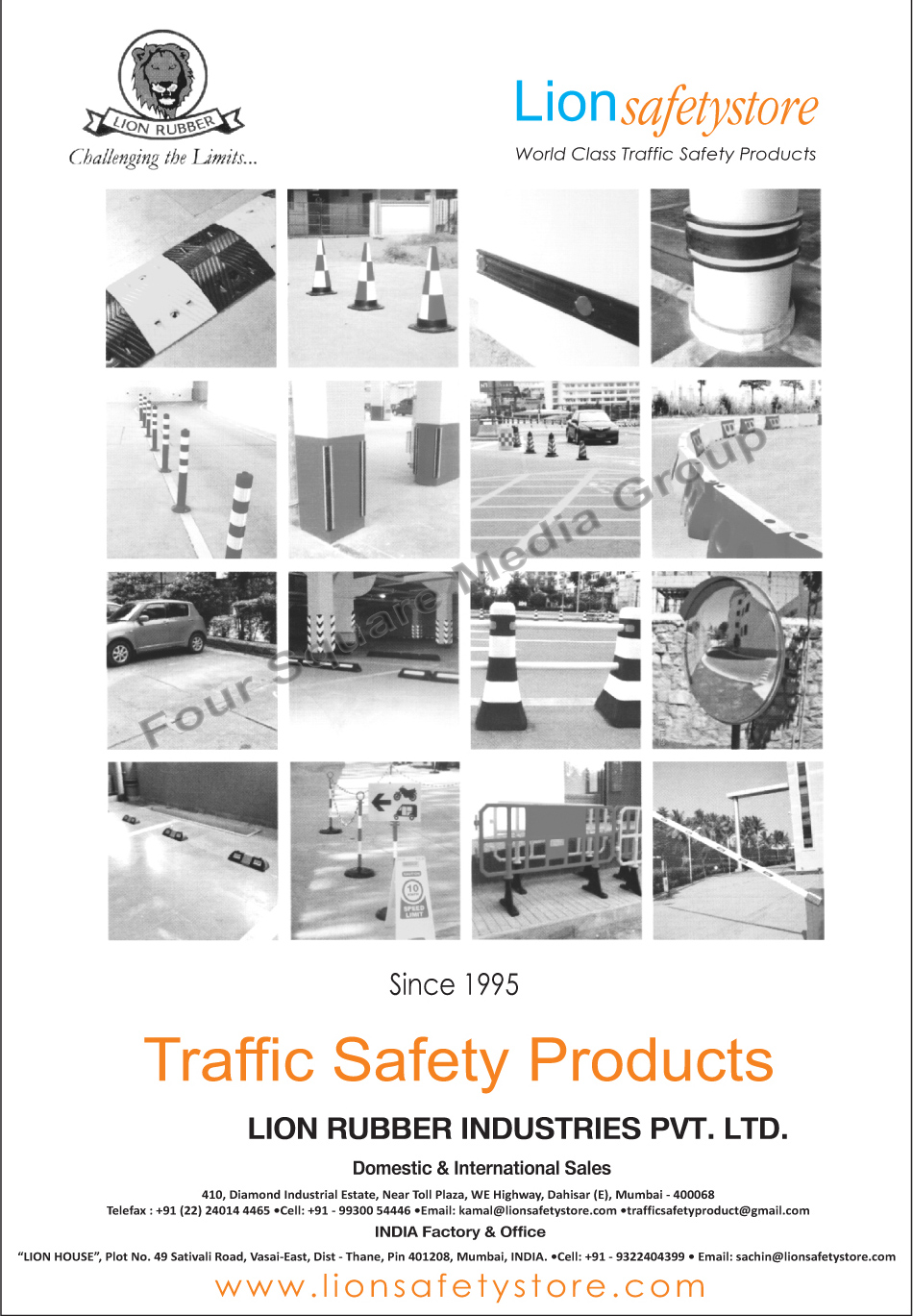 Road Safety Products, Traffic Safety Products, Speed Breakers, Rubber Column Guards, Rubber Wall Guards, Rubber Pillar Guards, Rubber Wheel Stoppers, PU Spring Posts, Convex Mirrors, Traffic Cones, Crash Barriers