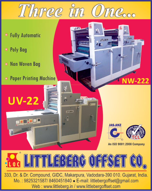 Paper Printing Machines, Poly Bag Printing Machines, Non Woven Bag Printing Machines,Bag Printing Machines, Web Offset Folders, Carton Pasting Machines, Carton Folding Machines, Paper Printing Machines