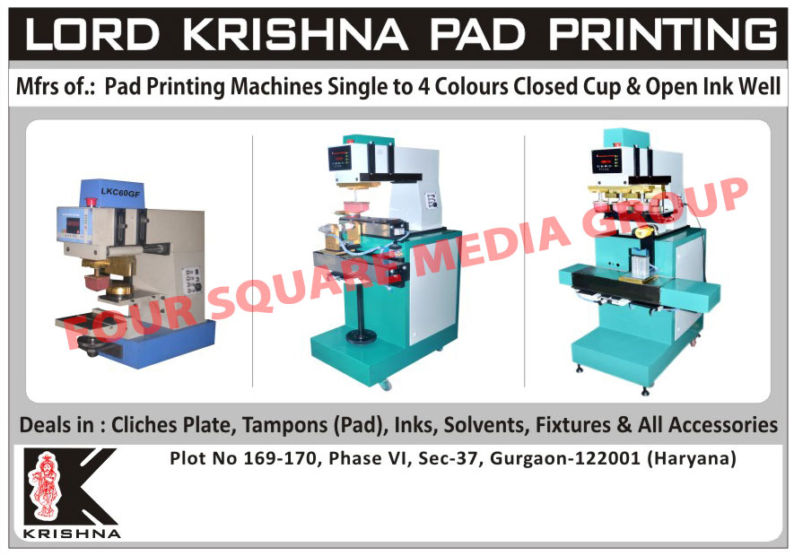 Pad Printing Machines, Cliches Plates, Printing Tampons, Printing Inks, Printing Solvents, Fixture Accessories, Printing Pads,Fixtures, Doctor Blade, Solvents, CNC Tools, Tampons Pads, Inks