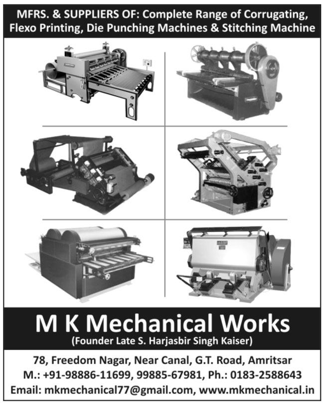 Corrugating Machines, Flexo Printing Machines, Die Punching Machines, Stitching Machines