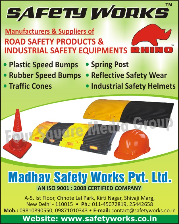 Plastic Speed Bumps, Rubber Speed Bumps, Traffic Cones, Spring Posts, Reflective Safety Wears, Industrial Safety Helmets, Road Safety Products, Industrial Safety Equipments, Safety Products