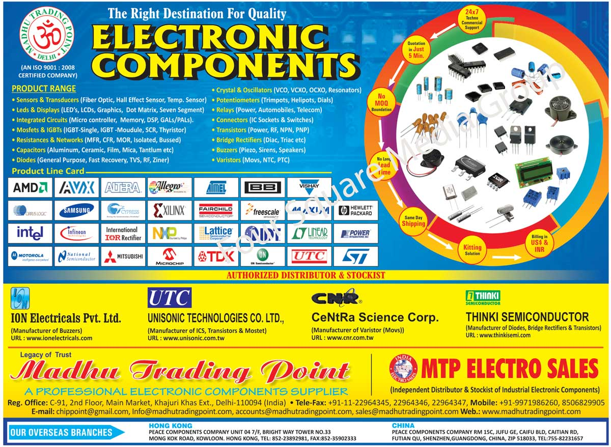 Bridge Rectifiers, Capacitors, Diodes, Electronic Components, Leds, Display, Relays, Varistors, Buzzar, Capacitors, Circuit Protection Device, Connector, Sensor, Transducers, Amplifiers, Comparators, Potentiometers, Mosfets, IGBT Moudule, Transistors, Micro Controllers, SMD Components